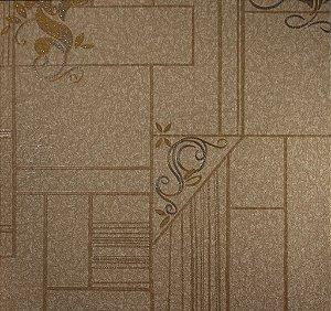 Papel de Parede Moda Em Casa Bege, Dourado com Glitter - 7115