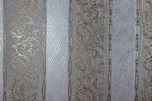 Papel de Parede Moda Em Casa Prata, Cinza com Tranças Prata e Glitter - 7173