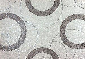 Papel de Parede Moda Em Casa OffWhite, Cinza com Círculos Prata e Glitter - 7196