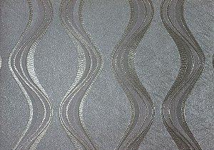 Papel de Parede Moda Em Casa Cinza com Ondas Prata e Glitter - 7067
