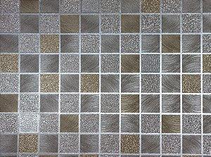 Papel de Parede Moda Em Casa Quadriculado Prata e Dourado com Glitter - 7095