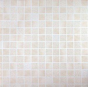 Papel de Parede Moda Em Casa Quadriculado Bege Claro com Glitter - 7091