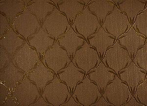 Papel de Parede Moda Em Casa Marrom com Dourado e Glitter - 7058