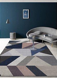 Tapete Veludo Macio Geométrico 3D Antiderrapante Cinza e Azul 0,90 x 1,30 - V19