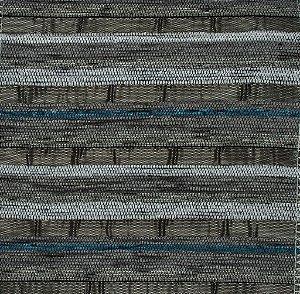 Tecido Chenille Listrado Cinza com Azul Petróleo - Pol 28