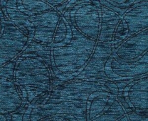 Tecido Chenille Abstrato Azul Petróleo - Pol 35