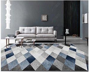 Tapete Veludo Macio Geométrico 3D Antiderrapante Azul e Cinza 1,70 x 2,30 - V21
