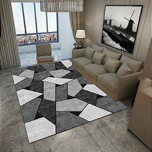 Tapete Veludo Macio Geométrico 3D Antiderrapante Cinza e Prata 1,40 x 190 - V8
