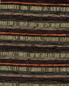Tecido Chenille Listrado Verde Musgo, Marrom e Laranja - Pol 50