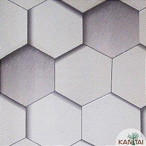 Papel de Parede Grace Geométrico Cinza e Branco - 3G203701R