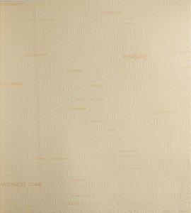 Papel de Parede Grace Escritas Creme, Branco e Dourado - GR921303