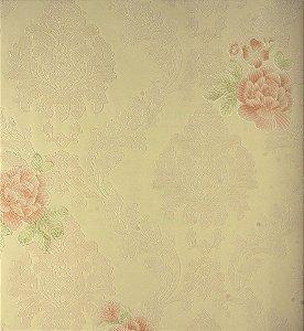 Papel de Parede Grace Medalhão Creme com Rosas - GR922004