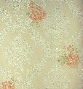 Papel de Parede Grace Medalhão Branco e Flores Lilás - GR922001