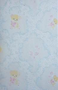Papel de Parede Grace Infantil Com Ursinhos Azul - GR921905