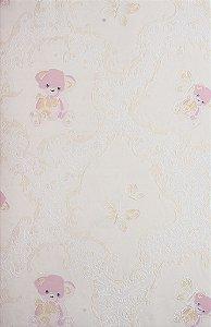 Papel de Parede Grace Infantil com Ursinhos Creme e Rosa - GR921901