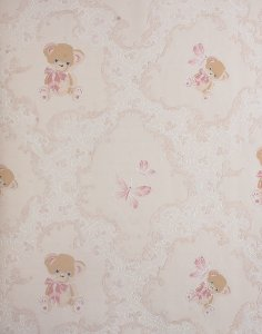 Papel de Parede Grace Infantil Com Ursinhos Creme e Branco - GR921904