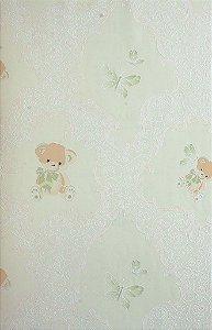 Papel de Parede Grace Infantil Com Ursinhos Verde Claro - GR921902