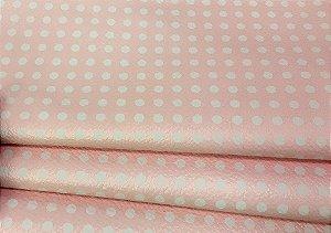 Tecido Corino POA Fundo Rosa e Branco