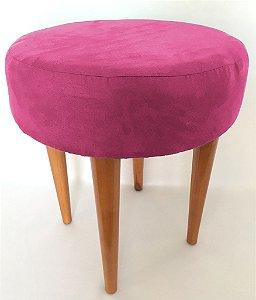 Puff Banqueta Redondo Pés Palito Verde Rosa Pink