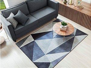Tapete Sala Antiderrapante Triângulos Azul e Cinza 1,40x2,00m - Berlim 01