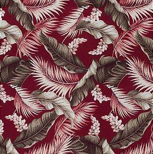 Tecido Impermeabilizado Folhas Vermelho - ASTV 107