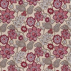 Tecido Impermeabilizado Floral Bege e Vermelho - ASTV 109