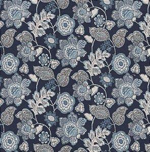 Tecido Impermeabilizado Floral Marinho - ASTV 113