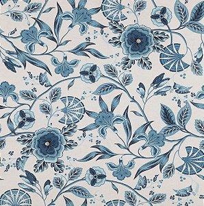 Tecido Impermeabilizado Flor e Folhas Azul e Cru - ASTV 117