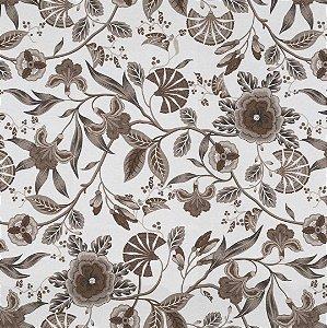 Tecido Impermeabilizado Flor e Folhas Marrom e Bege - ASTV 124
