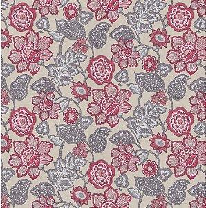 Tecido Impermeabilizado Flor e Folhas Cinza e Creme - ASTV 128