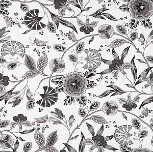 Tecido Impermeabilizado Flor e Folhas Cinza e Preto - ASTV 136