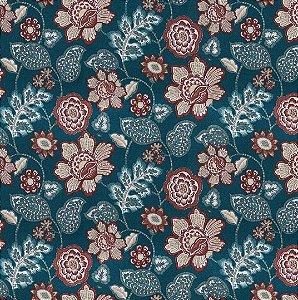 Tecido Impermeabilizado Floral Verde e Terra - ASTV 141