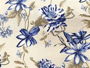 Tecido área externa Summer Flores Azul Bege Cinza 220