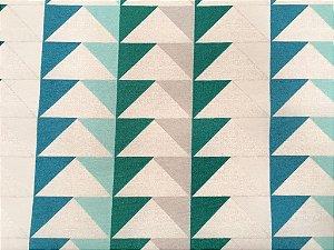 Tecido área externa Summer Triangulos Cinza, e tons de Verde Azul 237