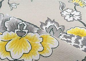 Tecido área externa Summer Floral Amarelo Areia Cinza 242