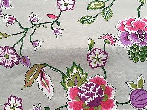 Tecido área externa Summer Floral Roxo, Verde Rosa Cinza 247