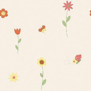 Papel de Parede Infantil Treasure Hunt - Flores e Borboletas com Fundo Branco TH-68112