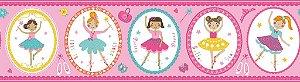 Papel de Parede Infantil Treasure Hunt - Faixa 0,176m x 5m Fundo Rosa com Bailarinas TH-68191