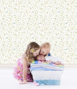 Papel de Parede Infantil Treasure Hunt - Fundo Branco com Passarinhos TH-68136