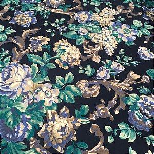 Tecido linho Flame Floral Marinho Tons de Azul e Verde