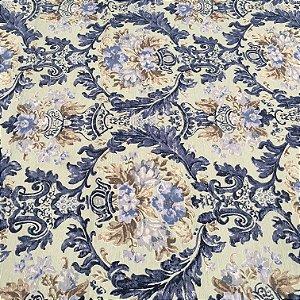Tecido Linho Flame Floral Tons de Azul e Bege