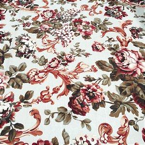 Tecido Linho Flame fundo creme claro, Floral Vermelho e Cinza