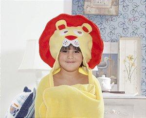 Manta Roupão Intantil com capuz Leão