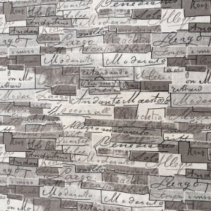 Tecido Linho Impermeabilizado Tijolinhos em Tons de Cinza com Letras Pretas - Mace 28