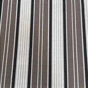Tecido Linho Impermeabilizado Listrado Cinza, Preto e Marrom - Mace 31