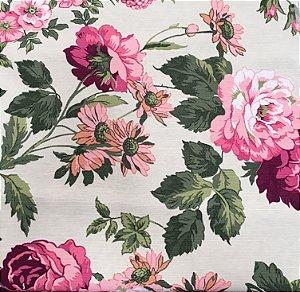 Tecido Linho Impermeabilizado Floral Cru, Rosa e Verde - Mace 62