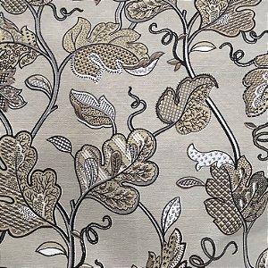Tecido Linho Impermeabilizado Folhas Bege, Branco e Preto - Mace 47