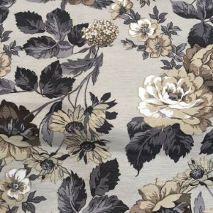 Tecido Linho Impermeabilizado Floral Bege e Cinza - Mace 50