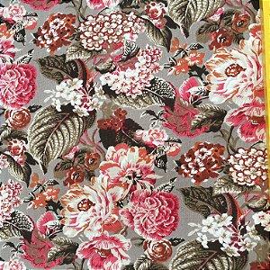 Tecido Linho Impermeabilizado Floral Rosa, Verde e Branco - Mace 05