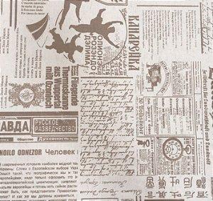 Tecido Linho Impermeabilizado Estilo Jornal Cru e Bege - Mace 07